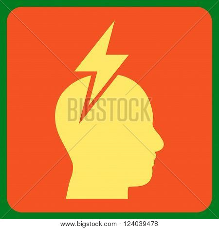 Headache vector symbol. Image style is bicolor flat headache pictogram symbol drawn on a rounded square with orange and yellow colors.