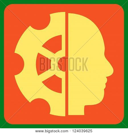 Intellect vector icon. Image style is bicolor flat intellect iconic symbol drawn on a rounded square with orange and yellow colors.