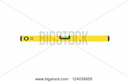 Level measurement vector illustration. Yellow building level measurement isolated on white background Level measurement balance instrument. Level measurement builder equipment. Level measurement