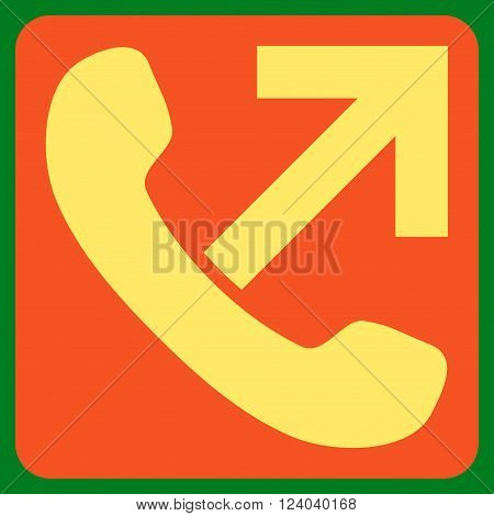 Outgoing Call vector pictogram. Image style is bicolor flat outgoing call pictogram symbol drawn on a rounded square with orange and yellow colors.