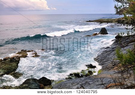 surging sea on coastline - Cap Corse -France