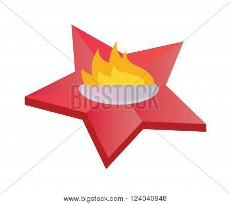 Eternal flame symbolizing victory in Great Patriotic War. Everlasting memory star fire flat vector illustration. Everlasting memory flat memorial symbol.