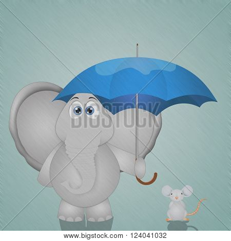a funny illustration of elephant and mouse with umbrella