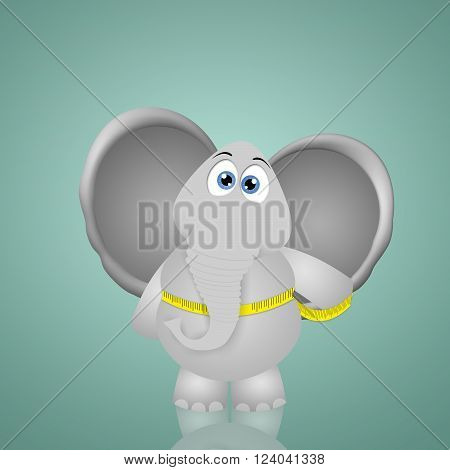 a funny illustration of Elephant on a diet