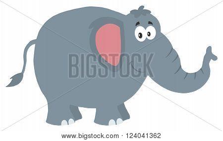 Smiling Elephant Cartoon Character. Illustration Flat Design
