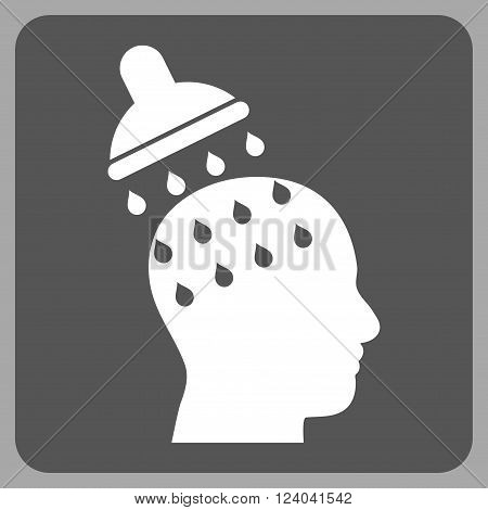 Brain Washing vector pictogram. Image style is bicolor flat brain washing icon symbol drawn on a rounded square with dark gray and white colors.