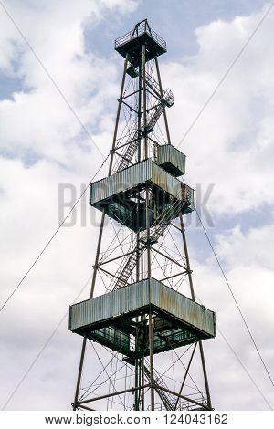 Oil pump. Oil industry equipment. Oil pumpjack or nodding horse pumping unit