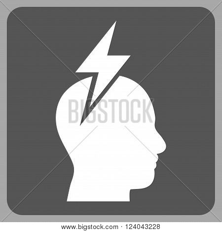 Headache vector icon symbol. Image style is bicolor flat headache iconic symbol drawn on a rounded square with dark gray and white colors.
