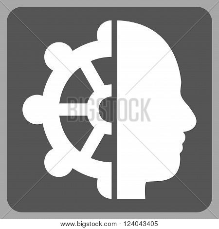 Intellect vector icon symbol. Image style is bicolor flat intellect icon symbol drawn on a rounded square with dark gray and white colors.