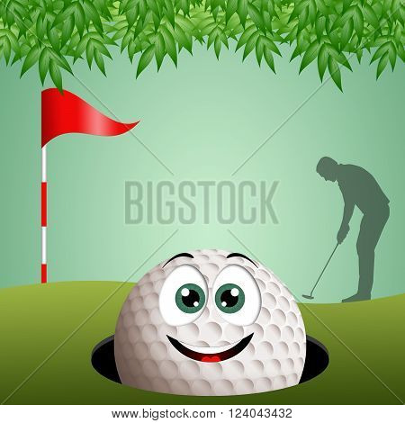 an illustration of a smiling golf ball