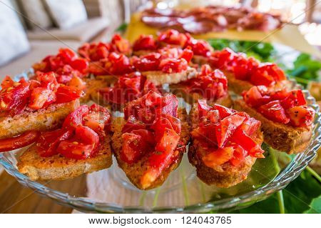 Italian Pastries And Bread For Snacks And Breakfast With Fruit And Jam