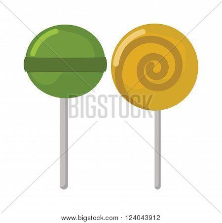 Lollipop sweet food vector illustration. Colorful lollipop isolated on white vector illustration. Lollipop sugar candy. Lollipop two sweet candy. Lollipop dessert. Lollipop colored cartoon vector.