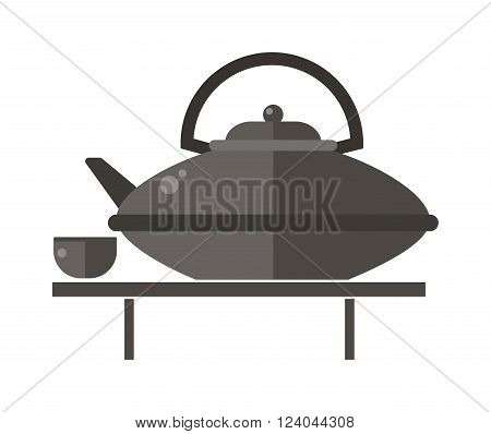 Kettle teapot on gray table flat vector illustration. Teapot and cups. Kettle teapot traditional tea ceremony. Chinese teapot symbols.