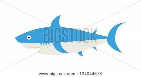 Cartoon Shark vector illustration. Cool flat shark. Vector illustration with cartoon blue shark. Danger shark ocean character. Cartoon underwater shark marine animal. Big fish shark blue fish isolated.