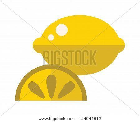 Lemon slice flat vector illustration. Slice of lemon on white background. Juicy lemon with slice. Flat yellow lemon slice cartoon vector food.