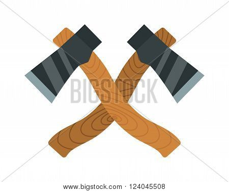 Axes timber lumberjack tools flat vector illustration. Two axes isolated on white background. Two axes timber for chopping wood. Lumberjack tools flat symbols