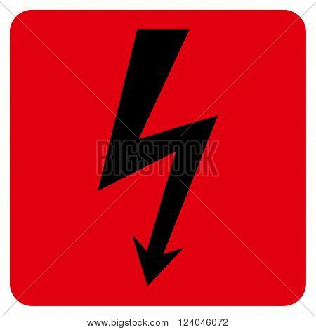 High Voltage vector icon symbol. Image style is bicolor flat high voltage icon symbol drawn on a rounded square with intensive red and black colors.