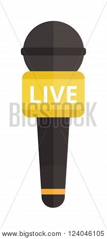 TV news microphone with blank box isolated on a white background flat vector illustration. Web broadcasting news microphone. Media TV news microphone.