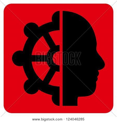 Intellect vector icon symbol. Image style is bicolor flat intellect icon symbol drawn on a rounded square with intensive red and black colors.