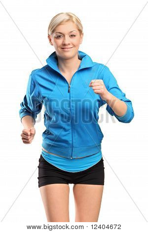 A Female Runner Running