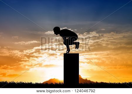 an illustration of parkour silhouette at sunset