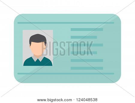 Car driver license identification with photo isolated, driver license vehicle identity vector. Driving national standard license flat vector illustration.
