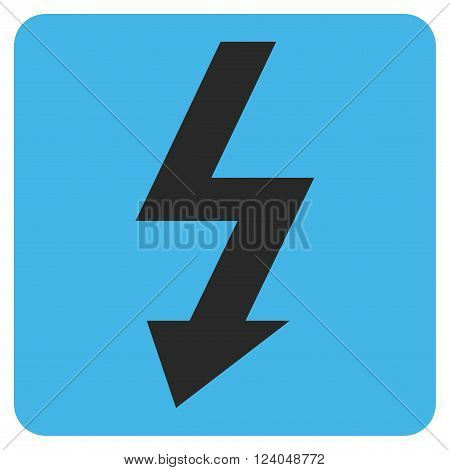 High Voltage vector icon. Image style is bicolor flat high voltage iconic symbol drawn on a rounded square with blue and gray colors.