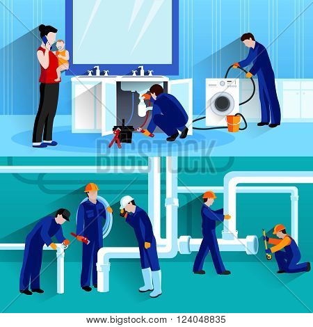 Two plumber horizontal compositions with craftsmen doing repair of pipeline in house flat vector illustration