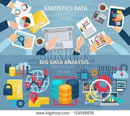 Big data analysis and database statistic systems 2 flat banners with computers laptops abstract isolated illustration vector