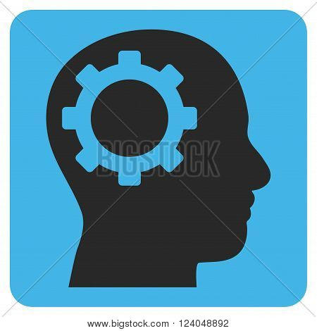 Intellect Gear vector icon symbol. Image style is bicolor flat intellect gear iconic symbol drawn on a rounded square with blue and gray colors.