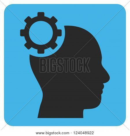 Intellect Gear vector pictogram. Image style is bicolor flat intellect gear iconic symbol drawn on a rounded square with blue and gray colors.