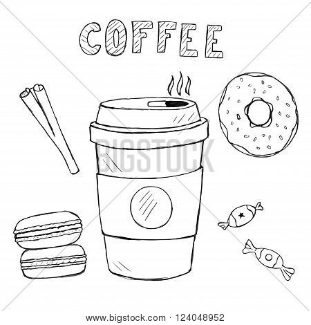 Set of doodle food and drink icons. vector hand drawn coffee macaron sweetmeats cinnamon with text