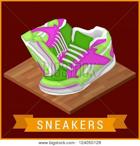 Pair of sneakers flat isometric icon. Unbranded running shoe, sneaker illustration. Running shoe pictogram. Two Running shoes. Bright Sport sneakers symbols. Vector illustration.