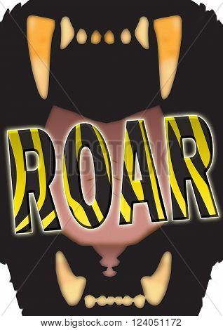 Illustration of a big cat's gaping mouth with the stylized word ROAR