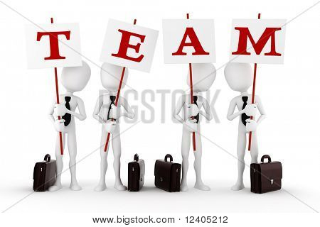 3d man team, isolated on white background