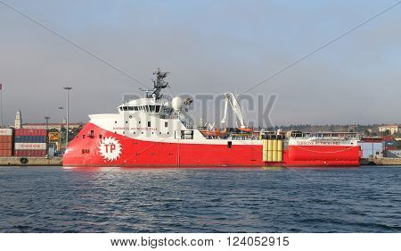ISTANBUL TURKEY - MARCH 12 2016: RV Barbaros Hayreddin Pasa seismographic research and survey vessel in Haydarpasa Port. Ship owned and operated by the Turkish Petroleum Corperation.