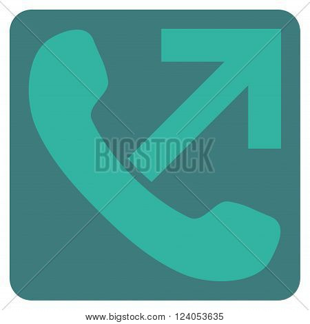 Outgoing Call vector pictogram. Image style is bicolor flat outgoing call pictogram symbol drawn on a rounded square with cobalt and cyan colors.