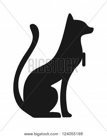 Egypt cat black silhouette vector illustration - Egypt cat silhouette isolated on white background. Egypt cat vector icon illustration. Egypt cat isolated vector. Egypt cat silhouette
