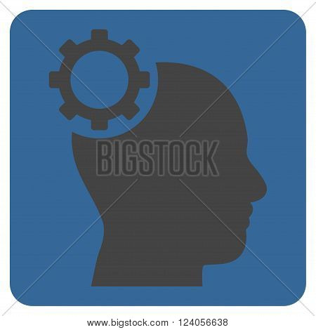 Intellect Gear vector symbol. Image style is bicolor flat intellect gear iconic symbol drawn on a rounded square with cobalt and gray colors.