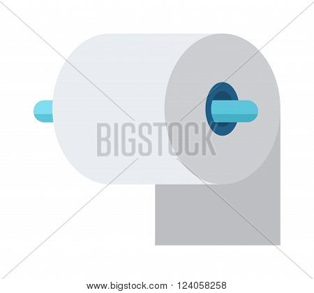 Toilet paper roll in bathroom and cartoon white toilet roll icon, soft white paper vector. Blue toilet roll and soft white paper cartoon flat vector illustration.