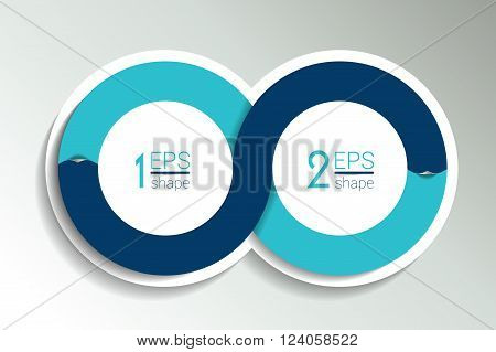Two business elements banner, template. 2 steps design, chart, infographic, step by step number option, layout. 3D cyrcle style.