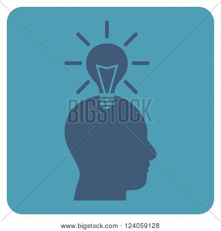 Genius Bulb vector symbol. Image style is bicolor flat genius bulb pictogram symbol drawn on a rounded square with cyan and blue colors.