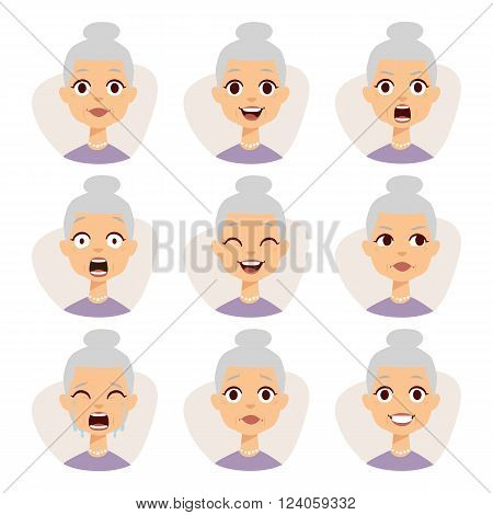 Old people granny emotions expression icons and funny granny emotions vector. Isolated set of funny granny avatar expressions face emotions vector illustration.