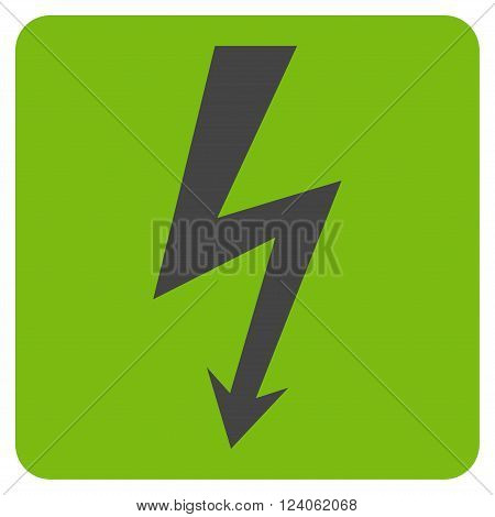 High Voltage vector icon symbol. Image style is bicolor flat high voltage iconic symbol drawn on a rounded square with eco green and gray colors.