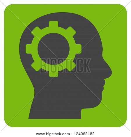Intellect Gear vector pictogram. Image style is bicolor flat intellect gear icon symbol drawn on a rounded square with eco green and gray colors.