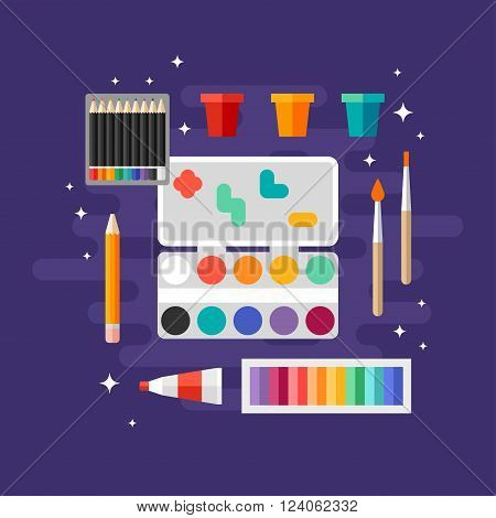 Set of Art Supplies Art Instruments for Painting Drawing Sketching. Paints and Brushes. Flat Design Vector Illustration