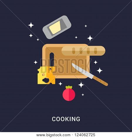 Cooking Concept. Cutting Board with Cheese Bread Butter and Tomato. Flat Style Vector Illustration