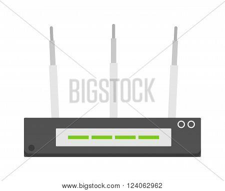Flat wifi modem router illustration isolated on white. Router detailed flat icon graphic illustration. Flat wi-fi modem 3d technology. Flat wi-fi modem digital design.