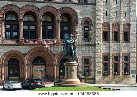 Philip John Schuyler Monument at the front of Albany City Hall in downtown Albany, New York State, USA.
