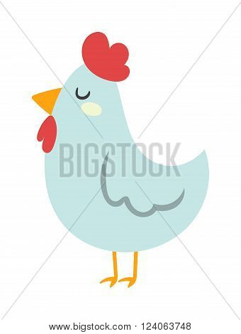 Cartoon chicken character and nice cartoon chicken farm bird vector. Cool cartoon chicken illustration. Farm chicken white bird isolated on white. Chuck cartoon bird with red hat